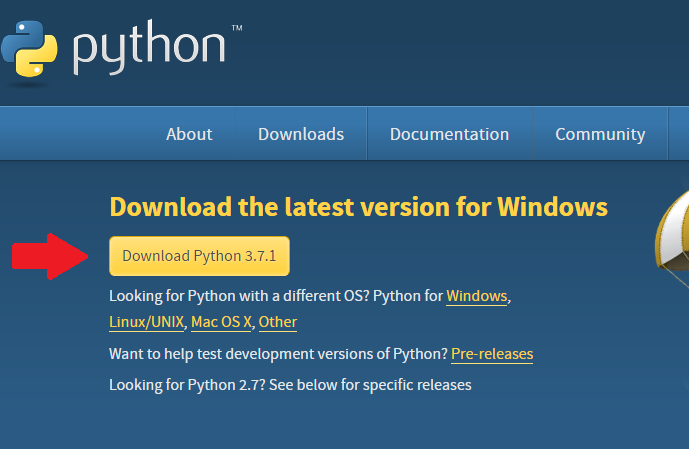 Página de download do instalador do Python